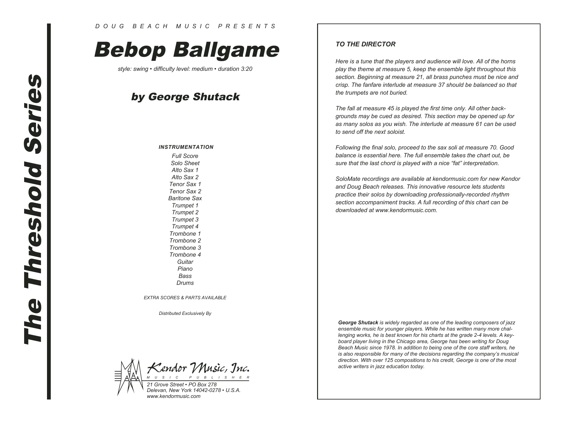 Bebop Ballgame (COMPLETE) sheet music for jazz band by George Shutack. Score Image Preview.