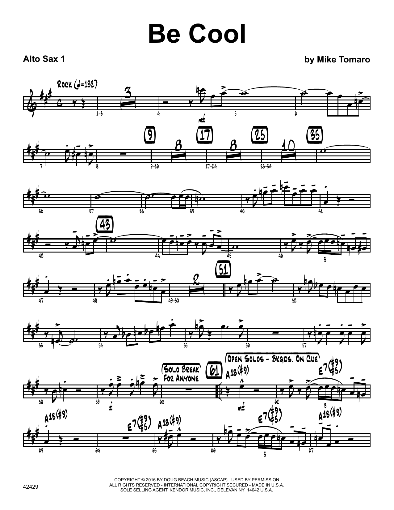Be Cool - 1st Eb Alto Saxophone Sheet Music