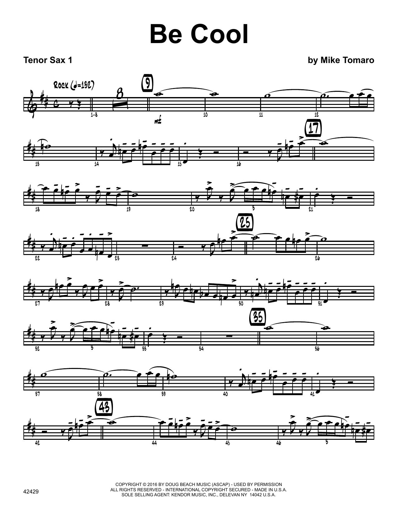 Be Cool - 1st Tenor Saxophone Sheet Music