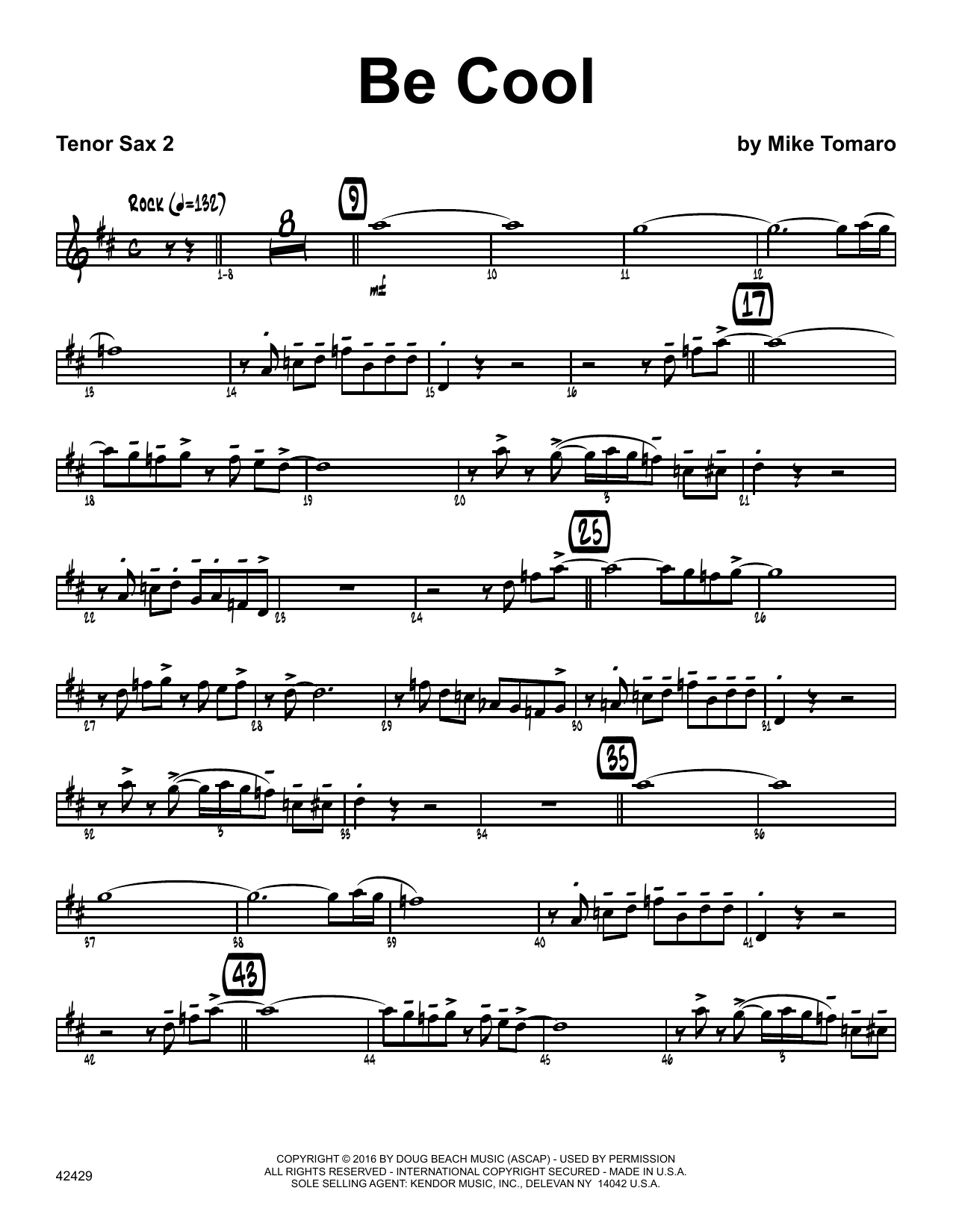 Be Cool - 2nd Bb Tenor Saxophone Sheet Music