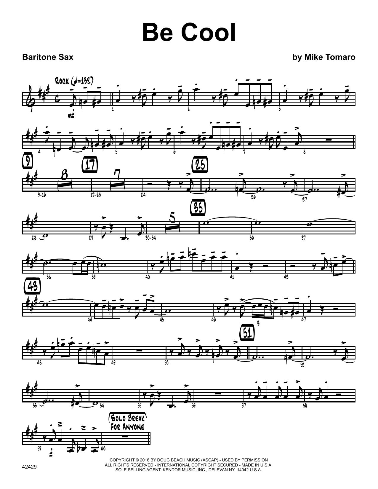 Be Cool - Eb Baritone Saxophone Sheet Music