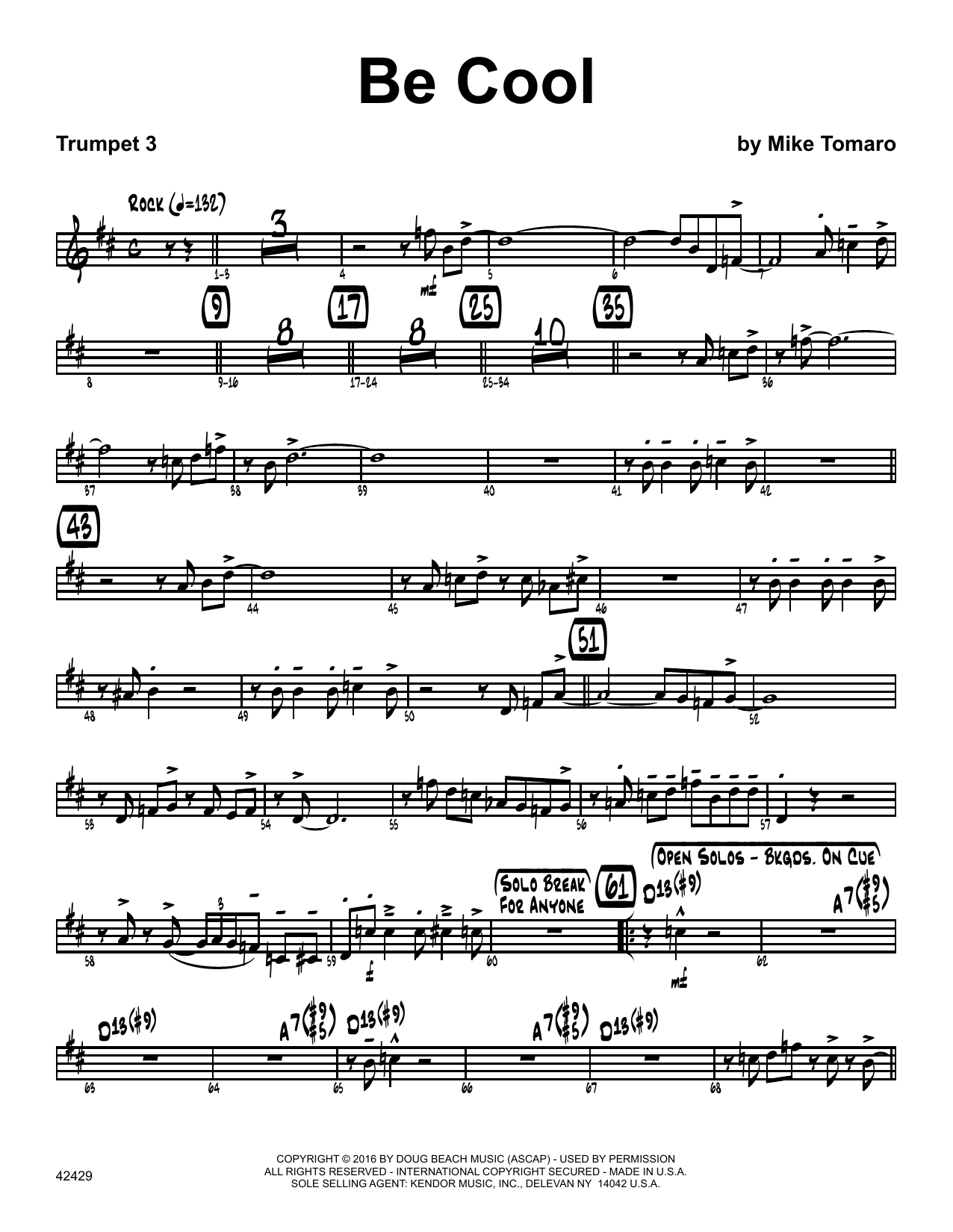Be Cool - 3rd Bb Trumpet Sheet Music
