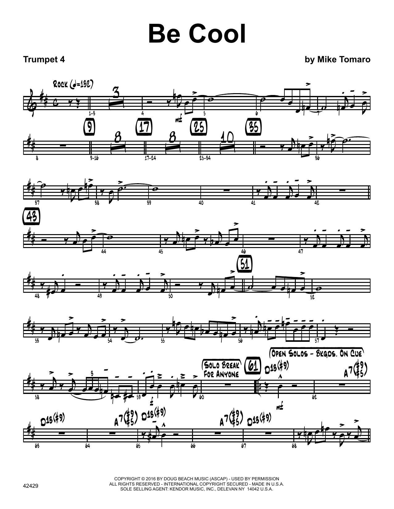 Be Cool - 4th Bb Trumpet Sheet Music