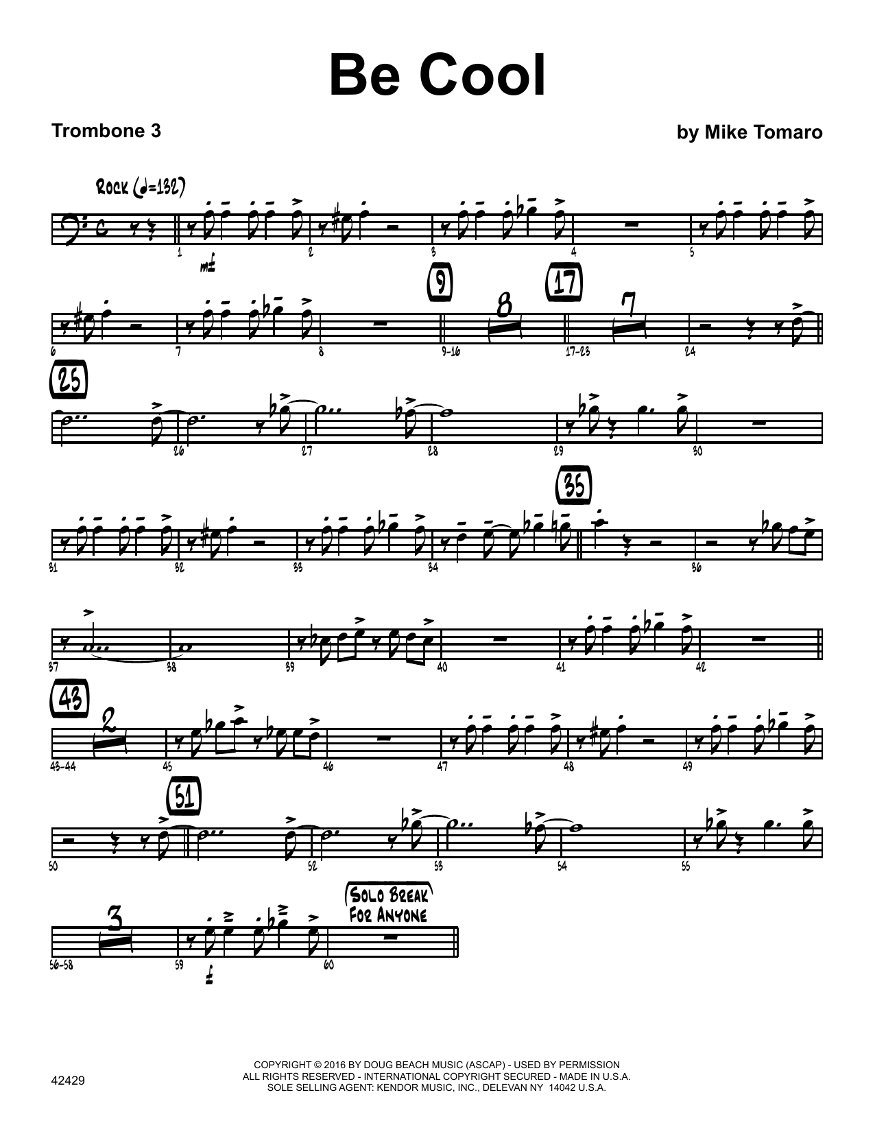 Be Cool - 3rd Trombone Sheet Music