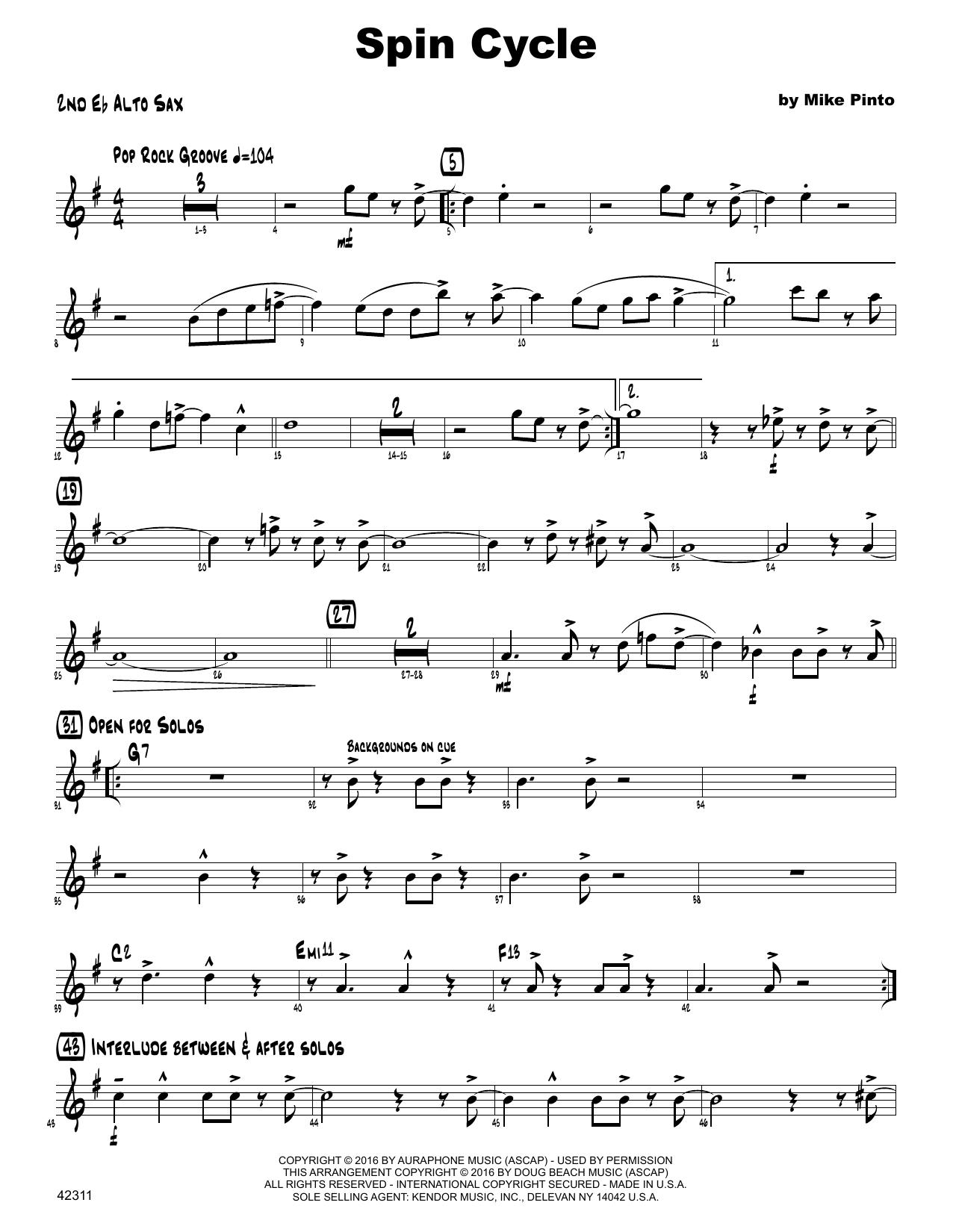 Spin Cycle - 2nd Eb Alto Saxophone Sheet Music