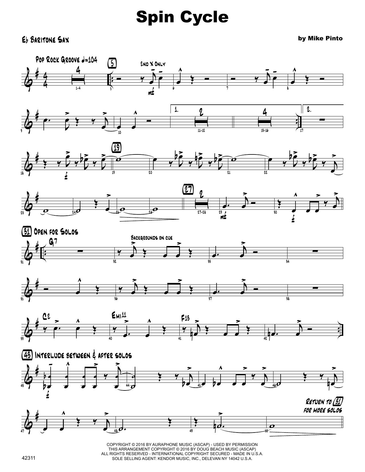 Spin Cycle - Eb Baritone Saxophone Sheet Music