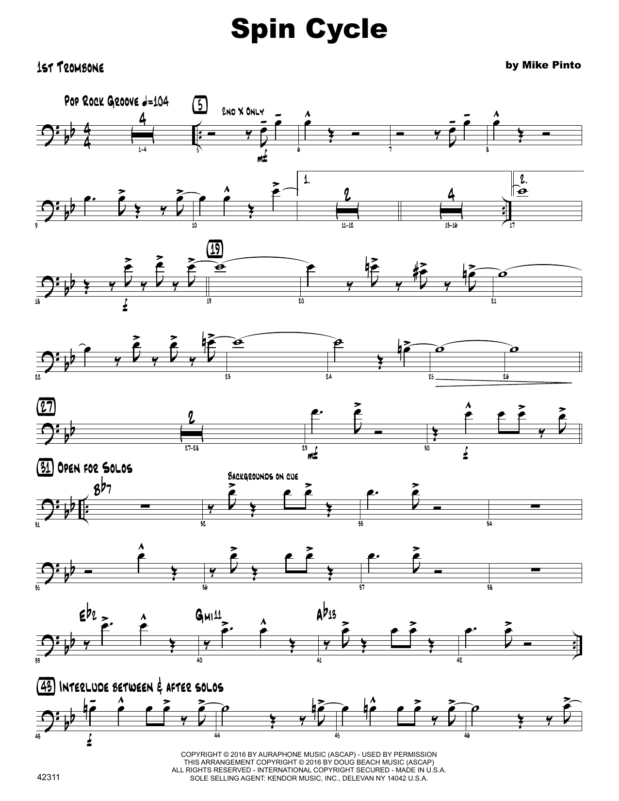 Spin Cycle - 1st Trombone Sheet Music