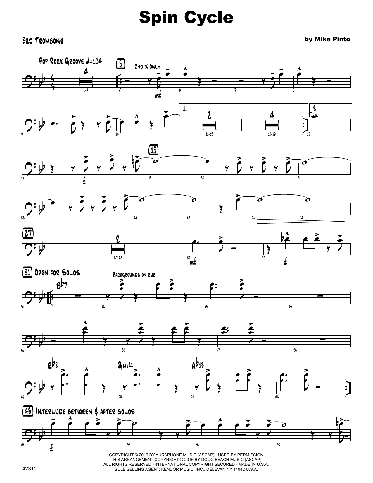 Spin Cycle - 3rd Trombone Sheet Music