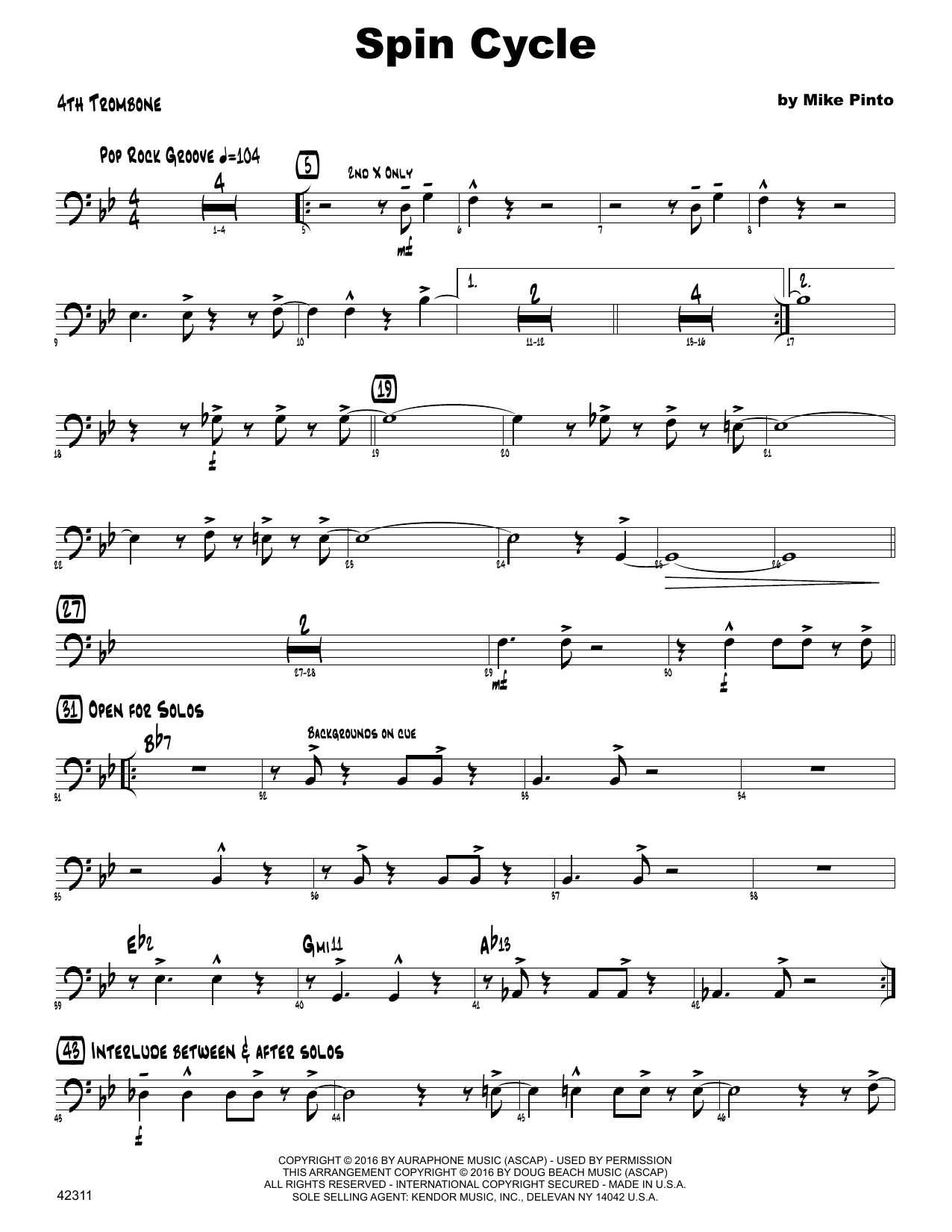 Spin Cycle - 4th Trombone Sheet Music