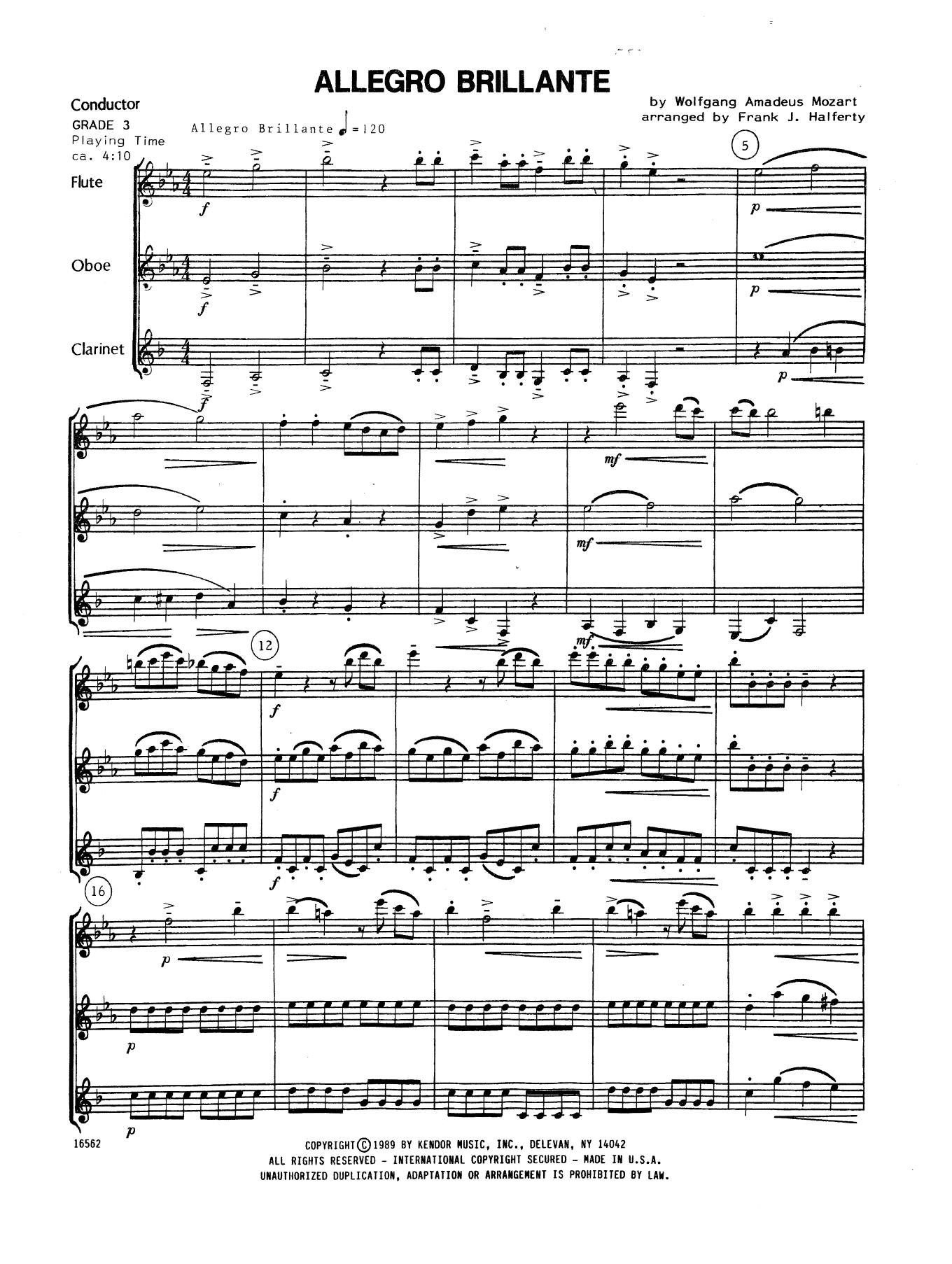 Allegro Brillante - Full Score Sheet Music