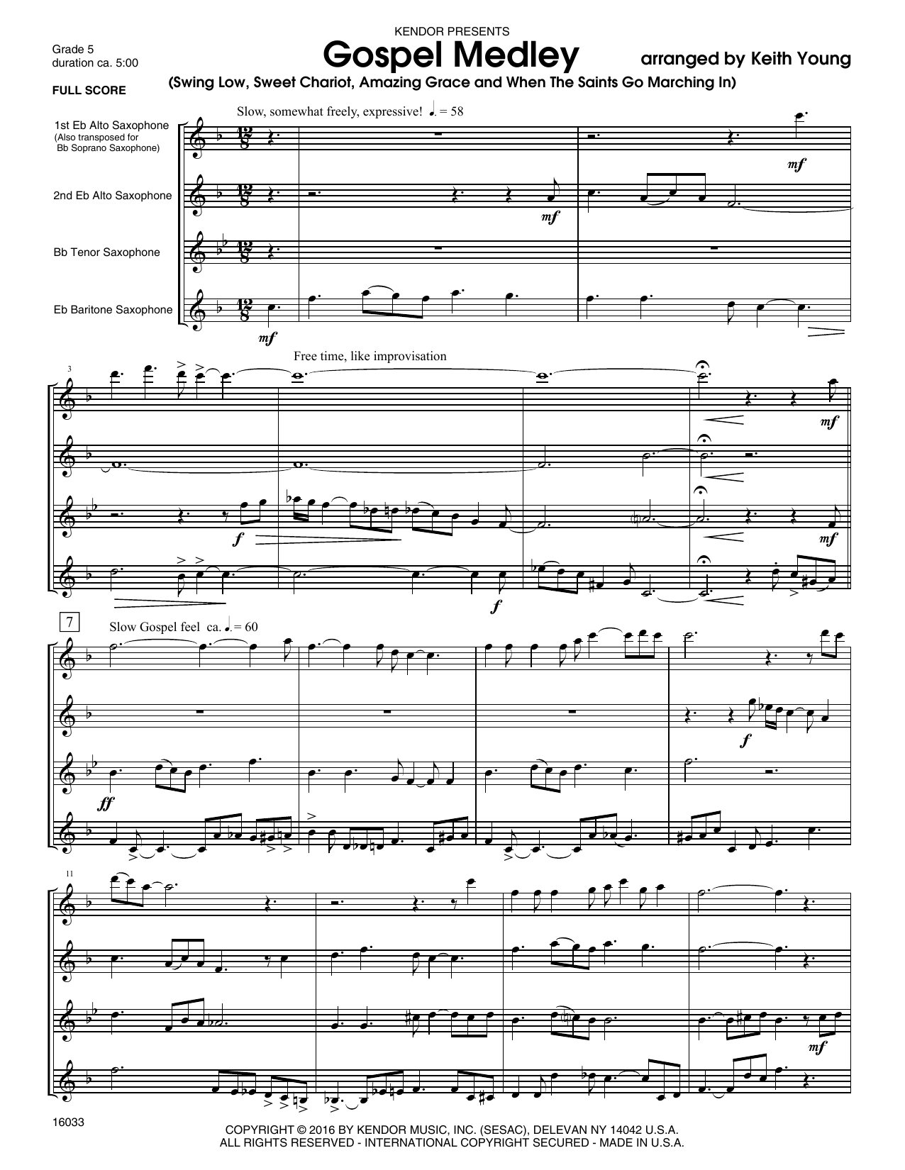 Gospel Medley (COMPLETE) sheet music for saxophone quartet by Keith Young. Score Image Preview.