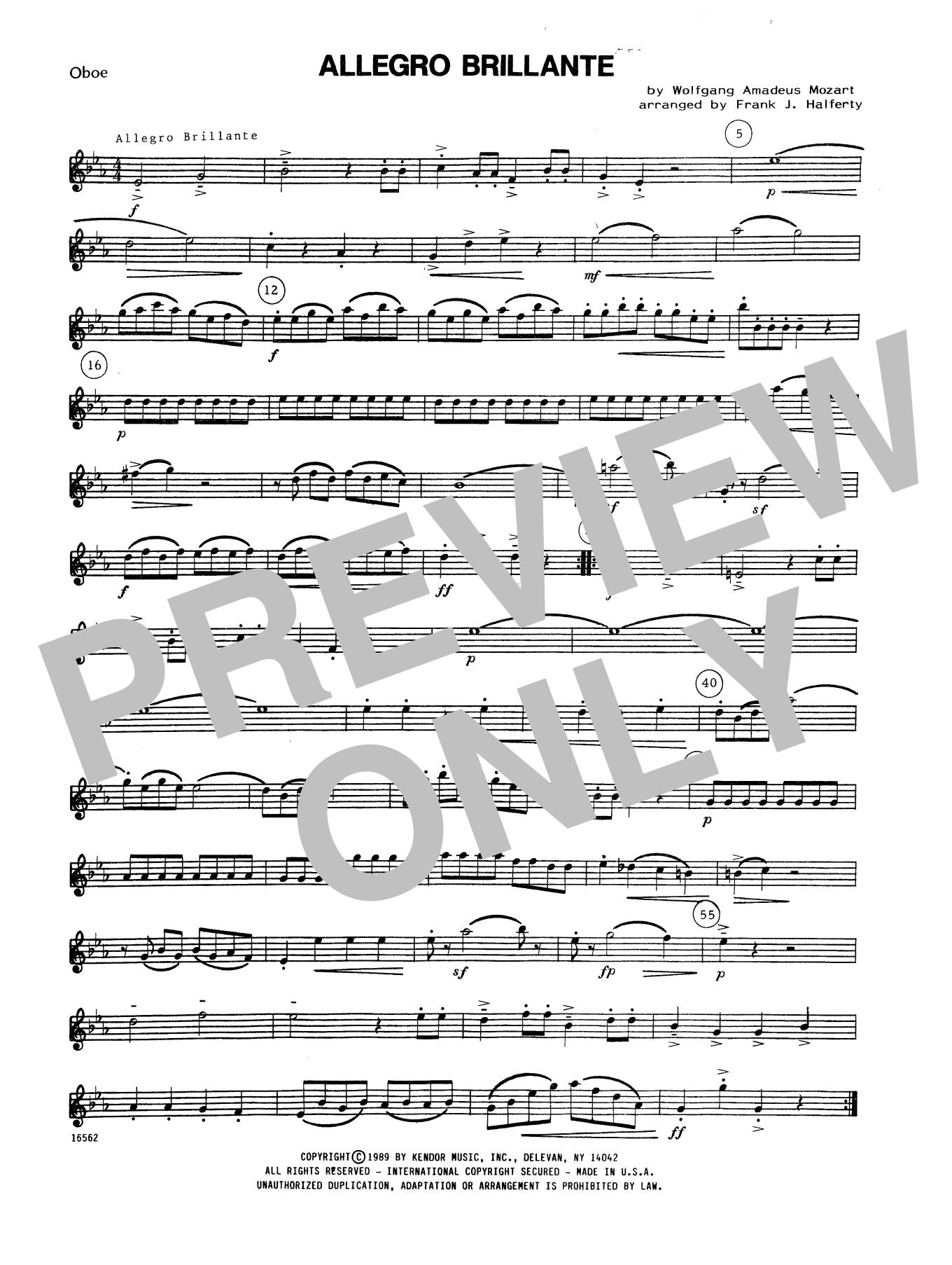 Allegro Brillante - Oboe Sheet Music
