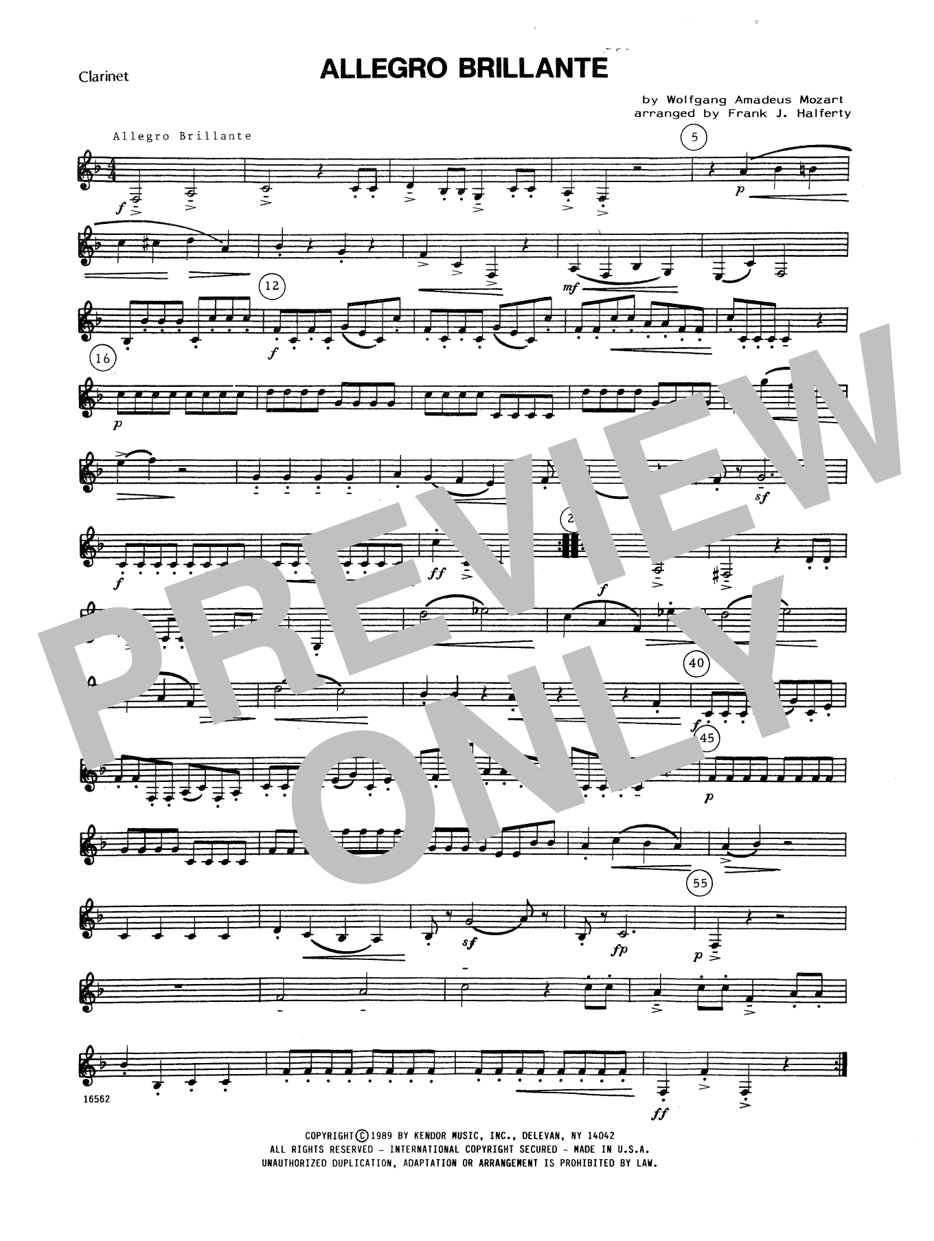 Allegro Brillante - Bb Clarinet Sheet Music