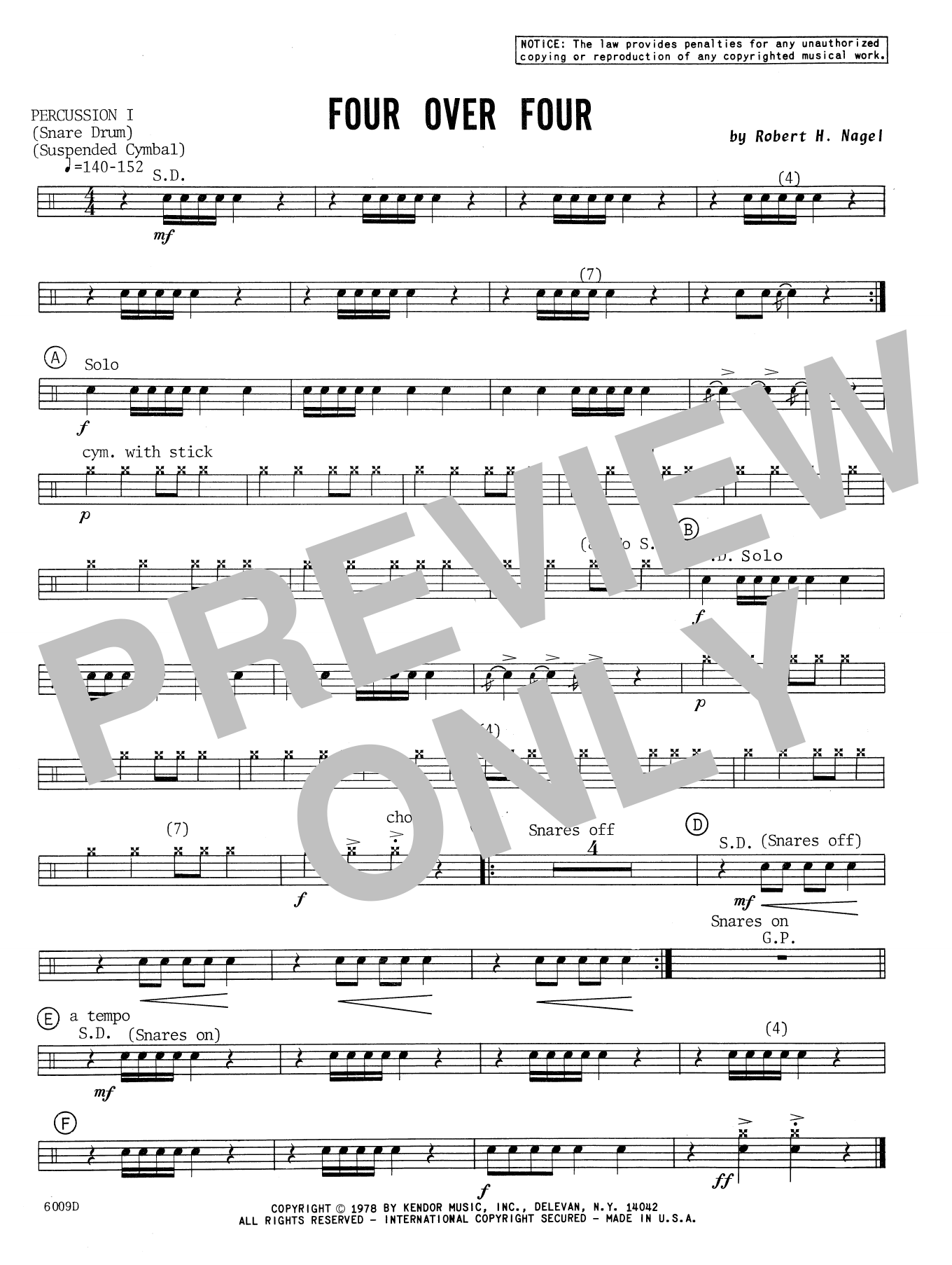 Four Over Four - Percussion 1 Sheet Music