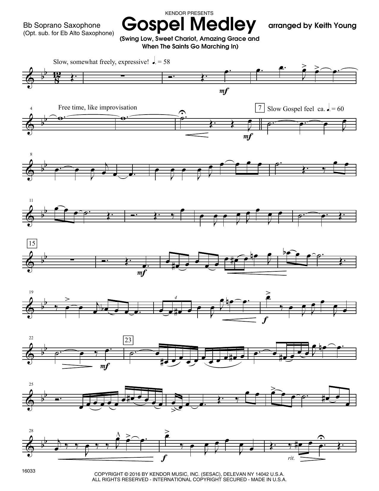 Gospel Medley - Bb Soprano Sax Sheet Music