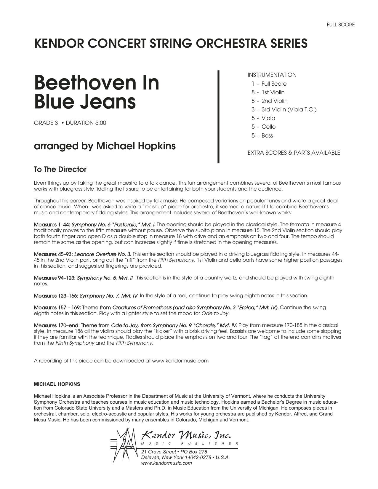 Beethoven In Blue Jeans (COMPLETE) sheet music for orchestra by Ludwig van Beethoven and Michael Hopkins. Score Image Preview.