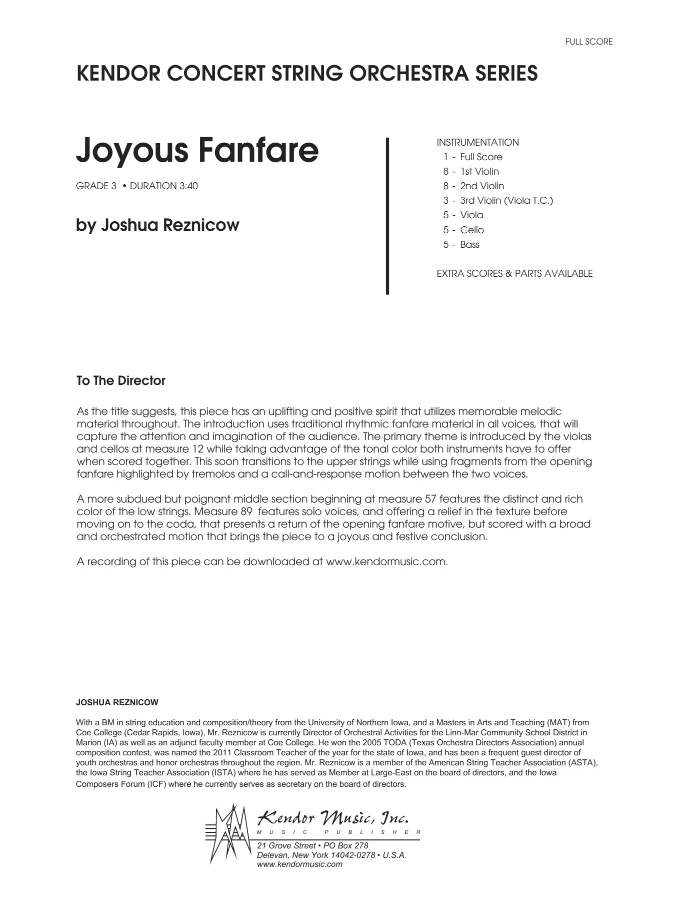 Joyous Fanfare - Full Score Sheet Music