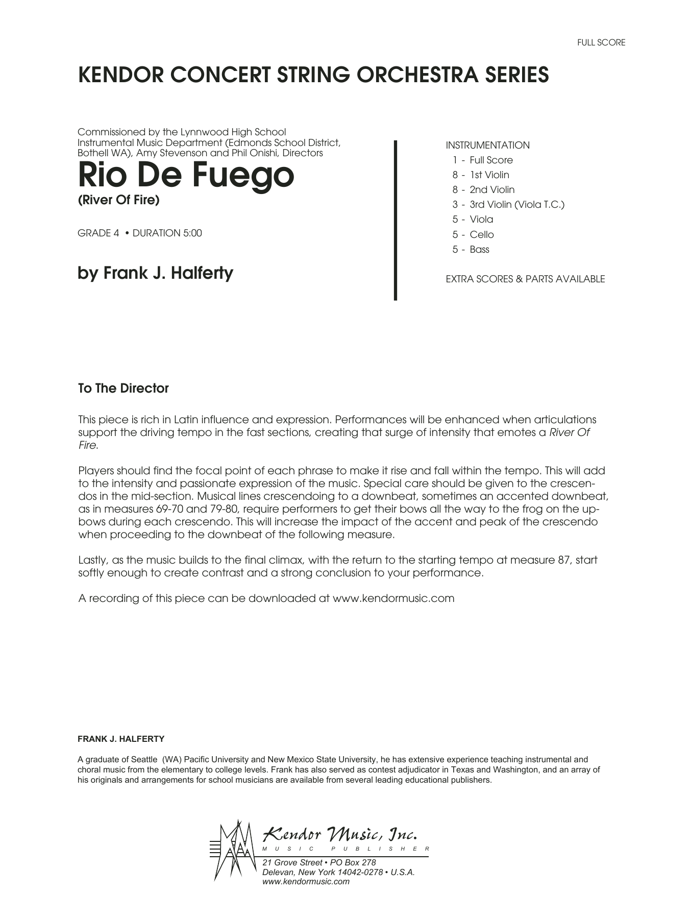 Rio De Fuego (River Of Fire) - Full Score Sheet Music