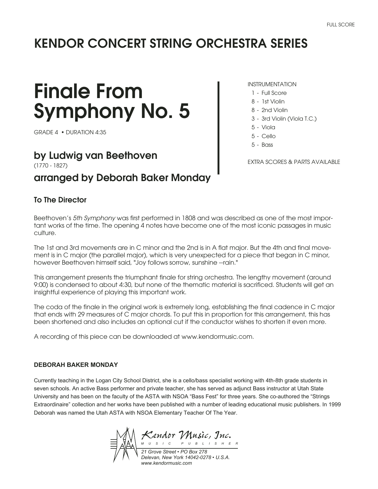 Finale from Symphony No. 5 (COMPLETE) sheet music for orchestra by Ludwig van Beethoven and Deborah Baker Monday. Score Image Preview.