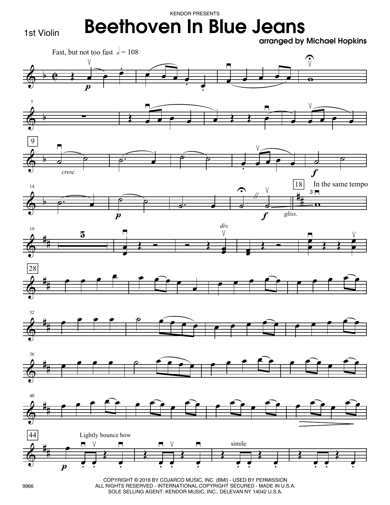 Beethoven In Blue Jeans - 1st Violin Sheet Music