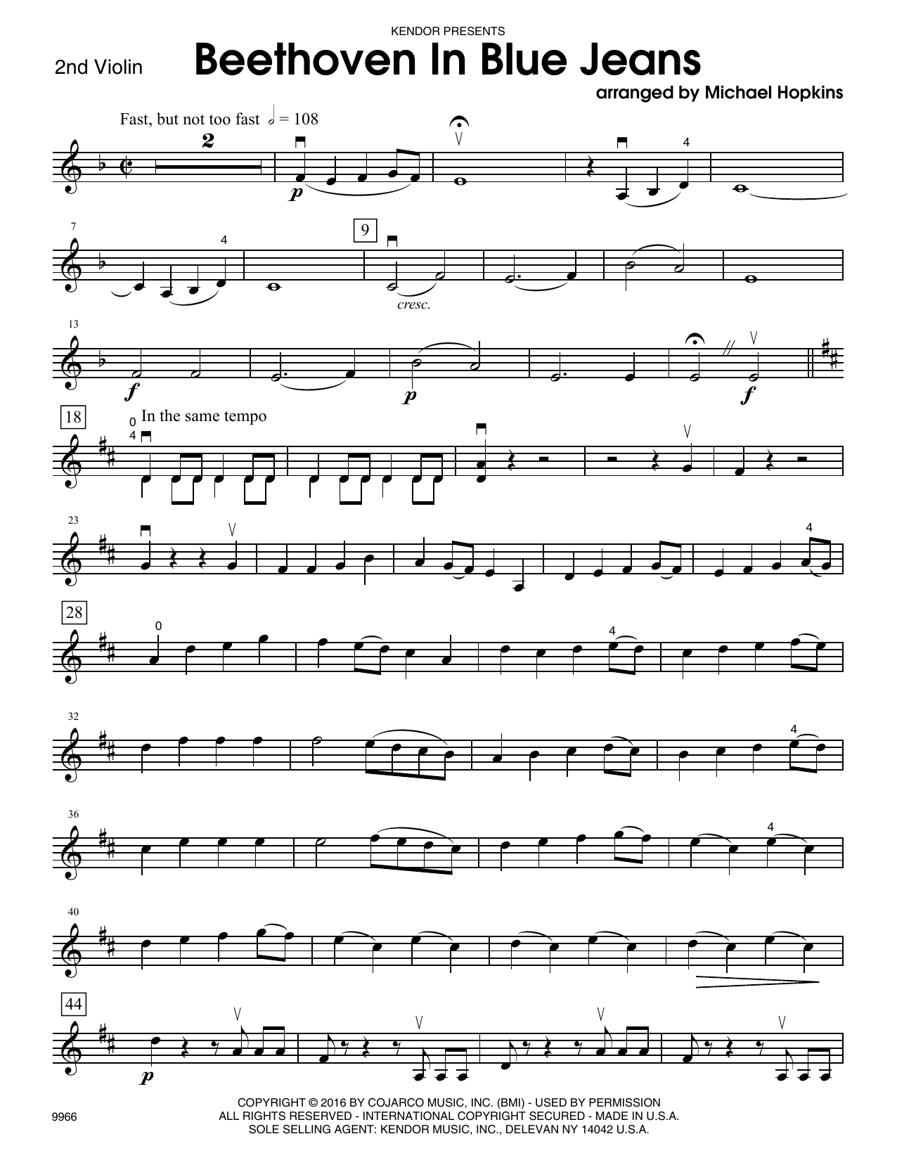 Beethoven In Blue Jeans - 2nd Violin Sheet Music