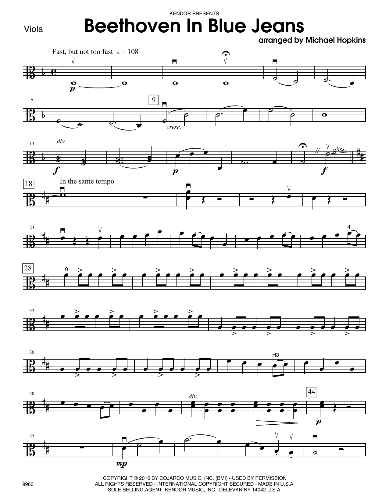 Beethoven In Blue Jeans - Viola Sheet Music