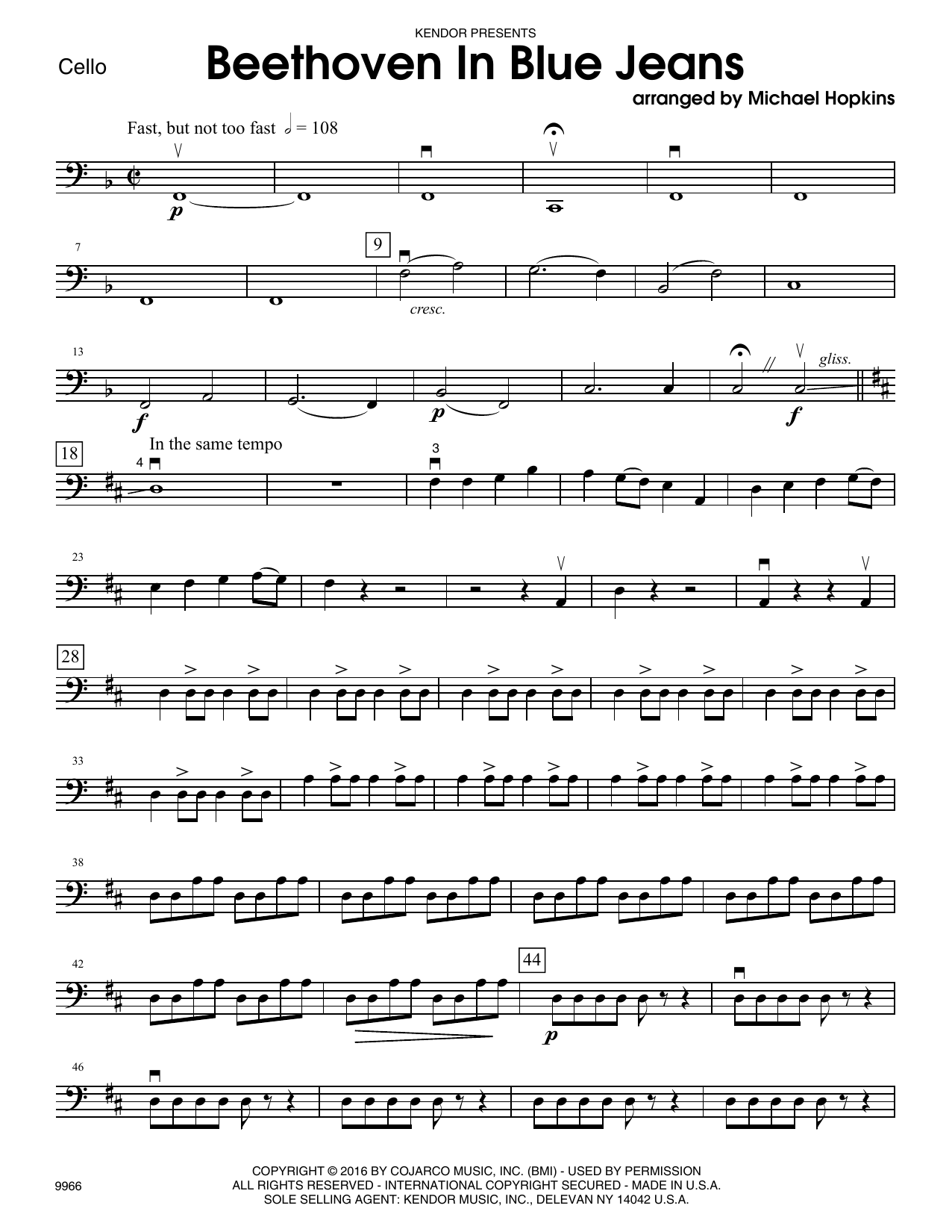 Beethoven In Blue Jeans - Cello Sheet Music