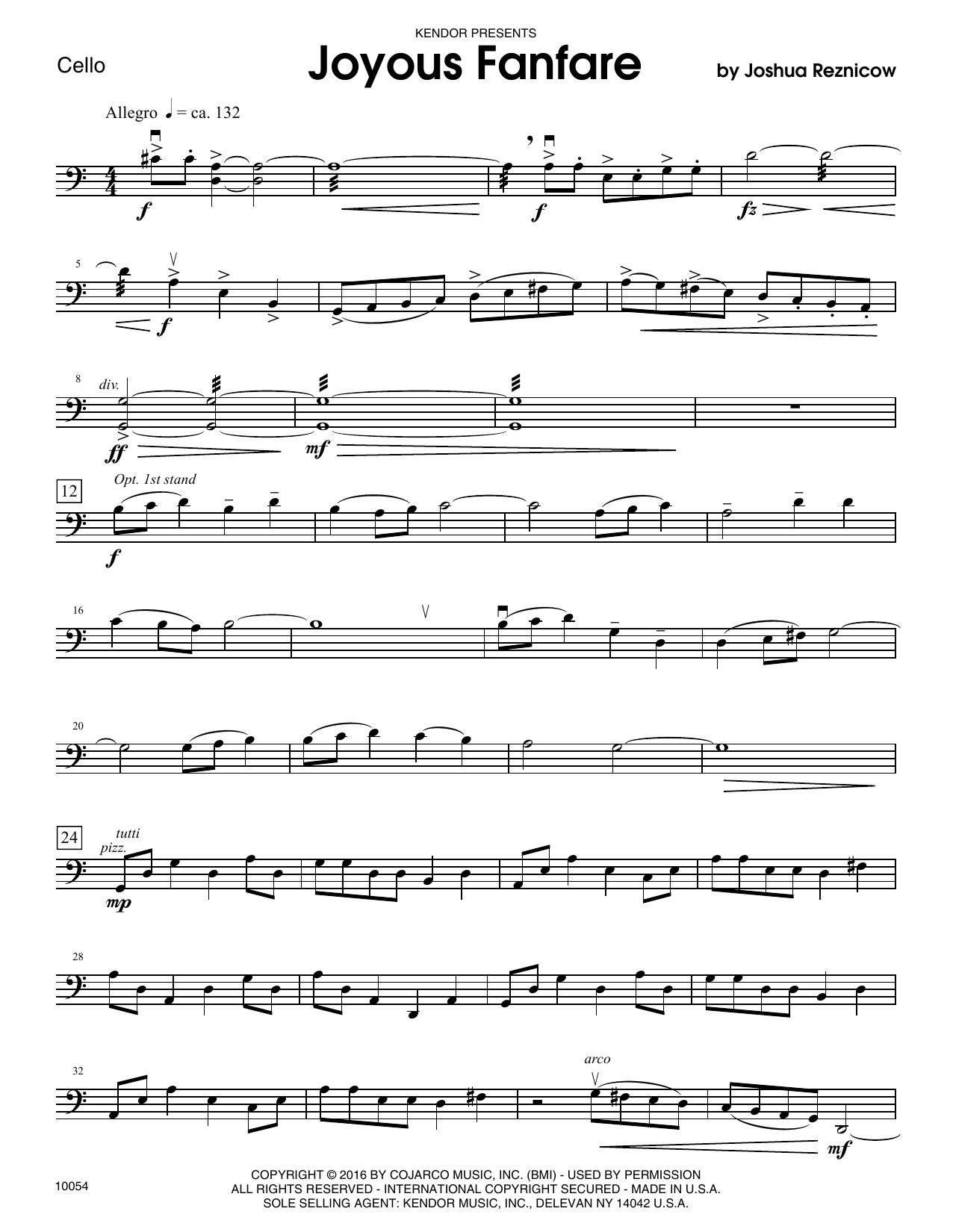 Joyous Fanfare - Cello Sheet Music