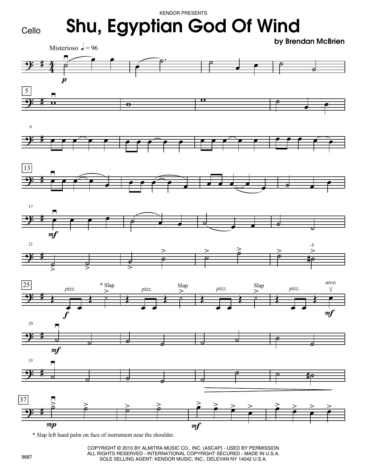 Shu, Egyptian God Of Wind - Cello Sheet Music