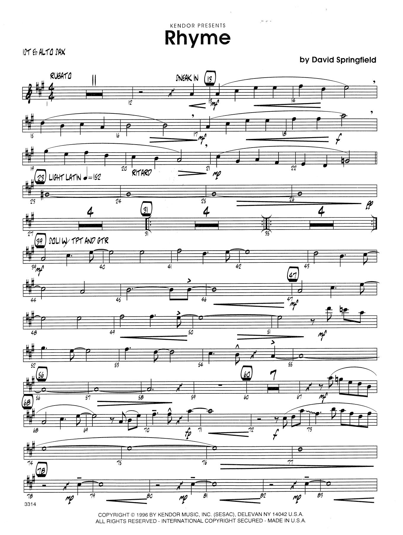 Rhyme - 1st Eb Alto Saxophone Sheet Music