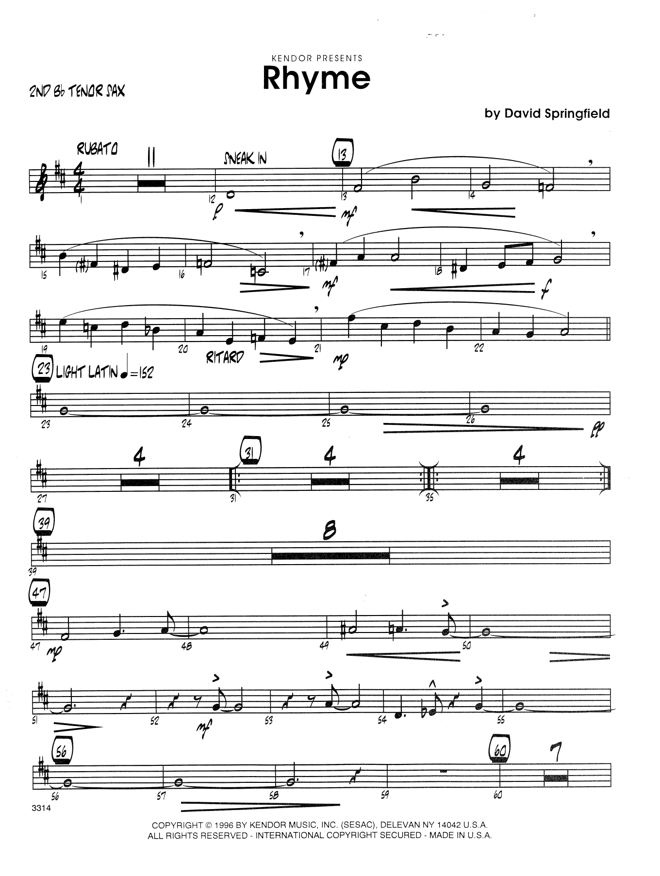 Rhyme - 2nd Bb Tenor Saxophone Sheet Music