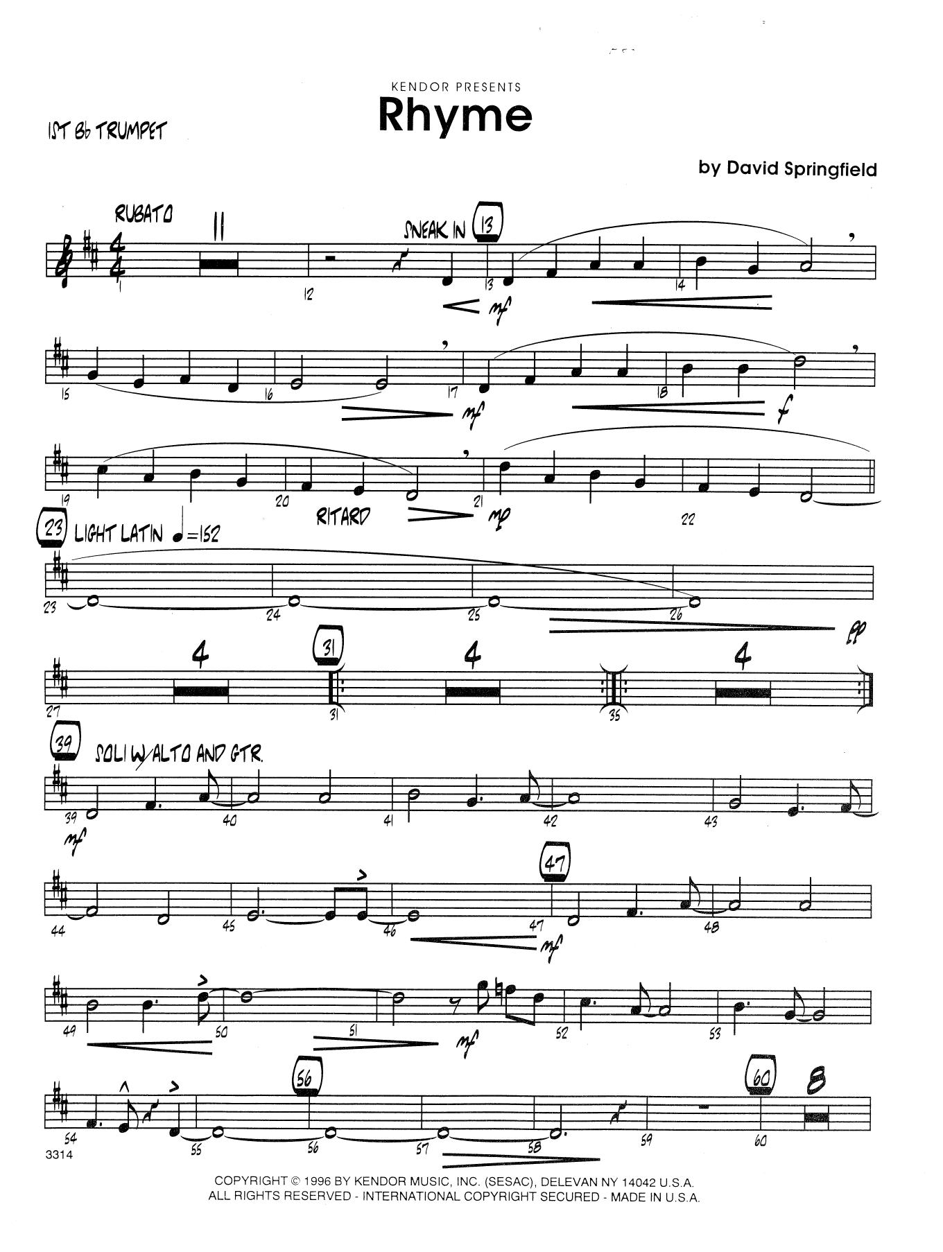 Rhyme - 1st Bb Trumpet Sheet Music
