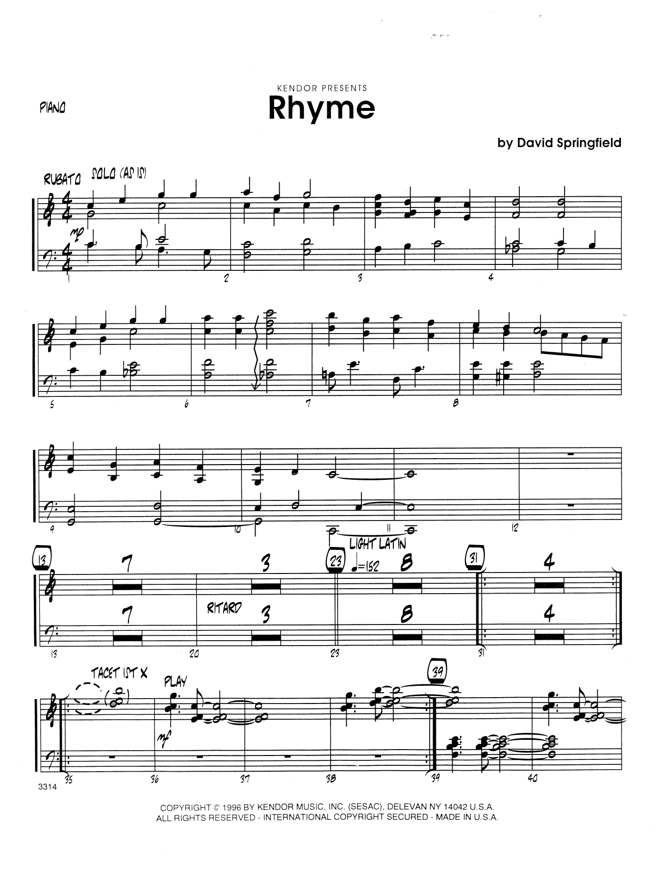 Rhyme - Piano Sheet Music