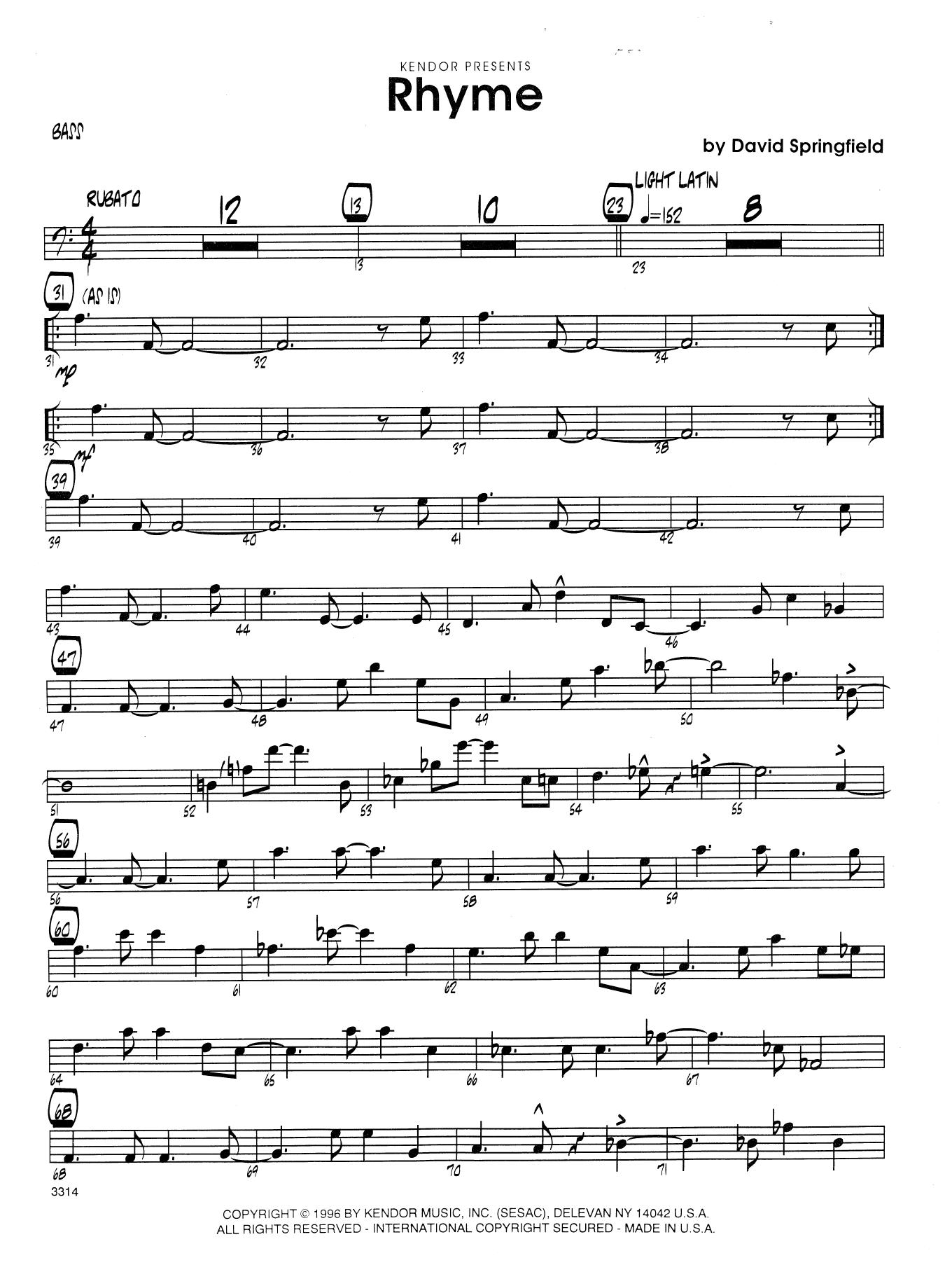 Rhyme - Bass Sheet Music