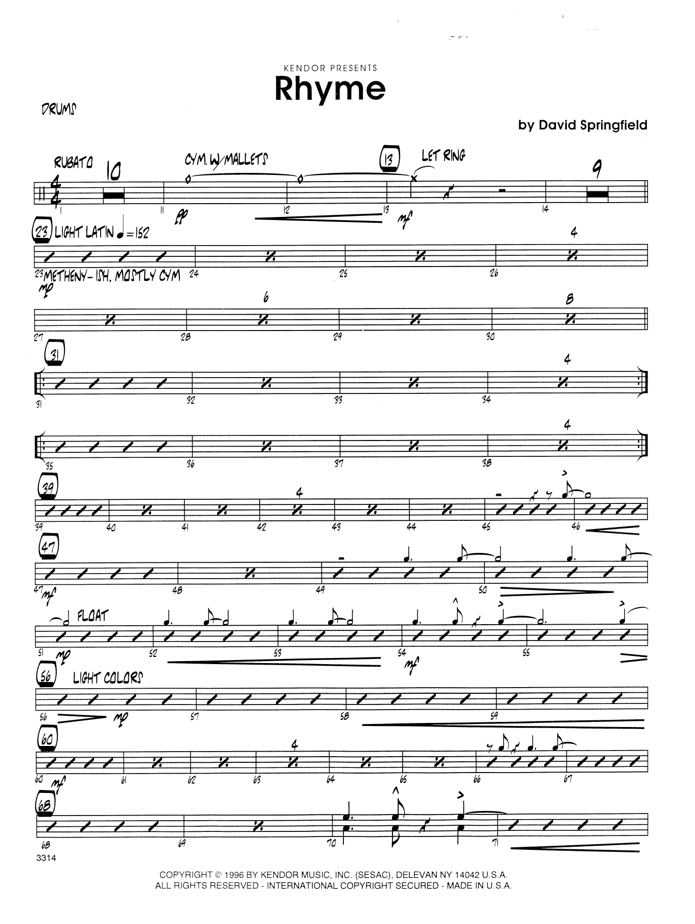 Rhyme - Drum Set Sheet Music