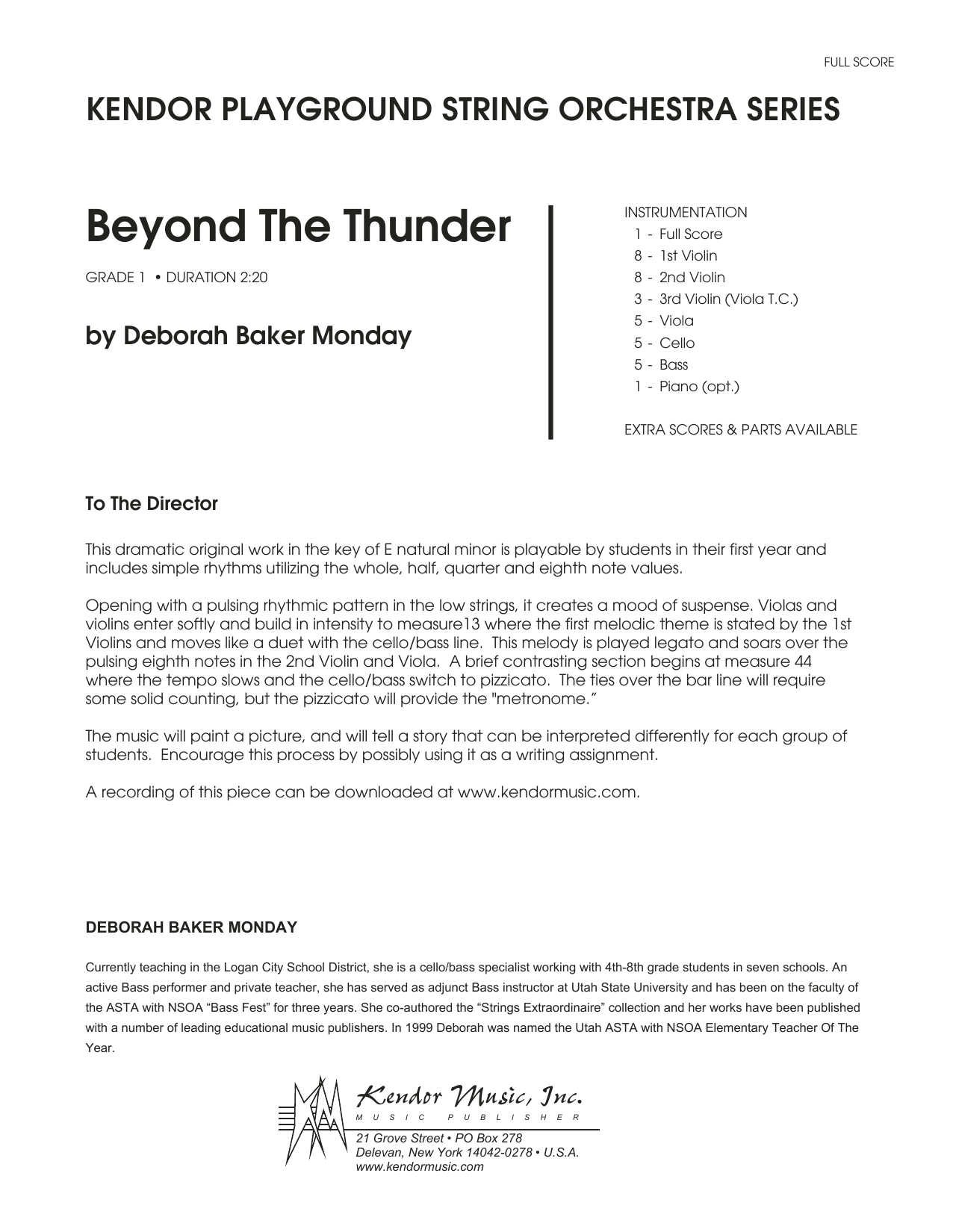Beyond The Thunder (COMPLETE) sheet music for orchestra by Deborah Baker Monday. Score Image Preview.