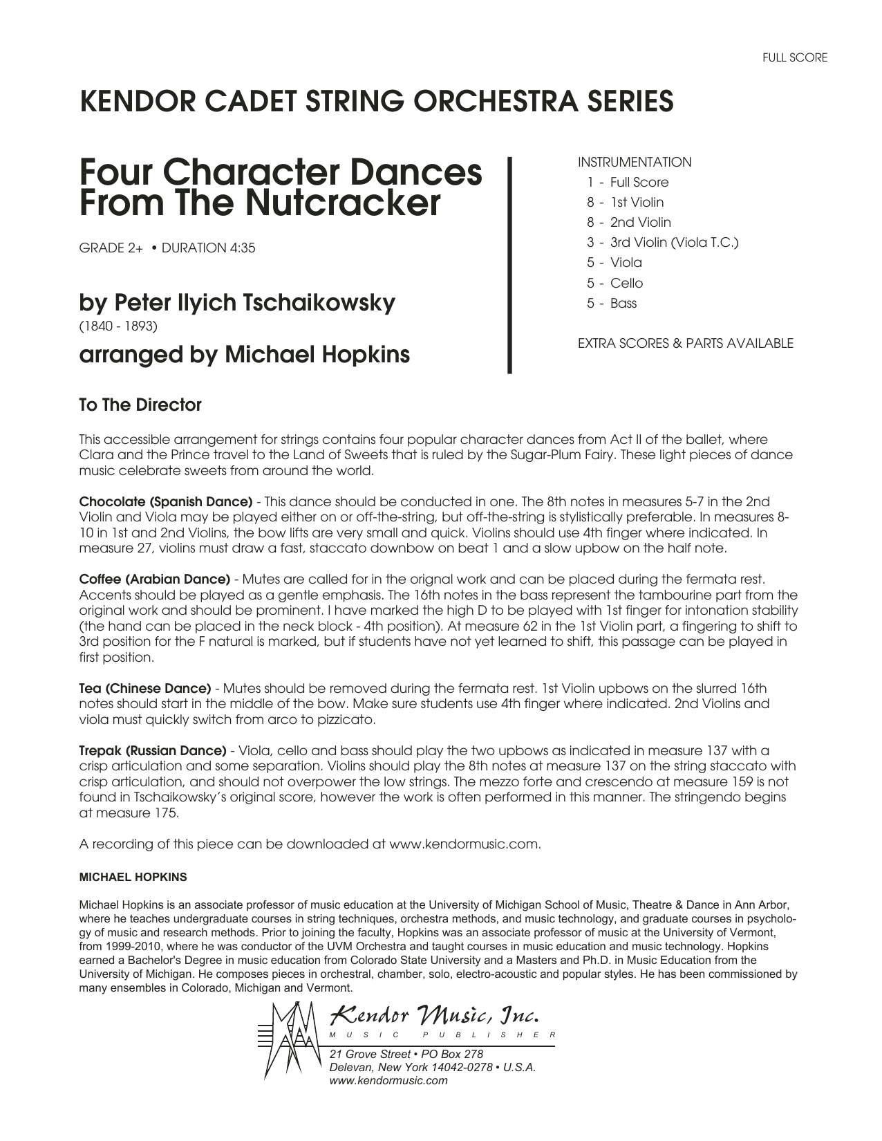 Four Character Dances From The Nutcracker (COMPLETE) sheet music for orchestra by Pyotr Ilyich Tchaikovsky and Michael Hopkins. Score Image Preview.