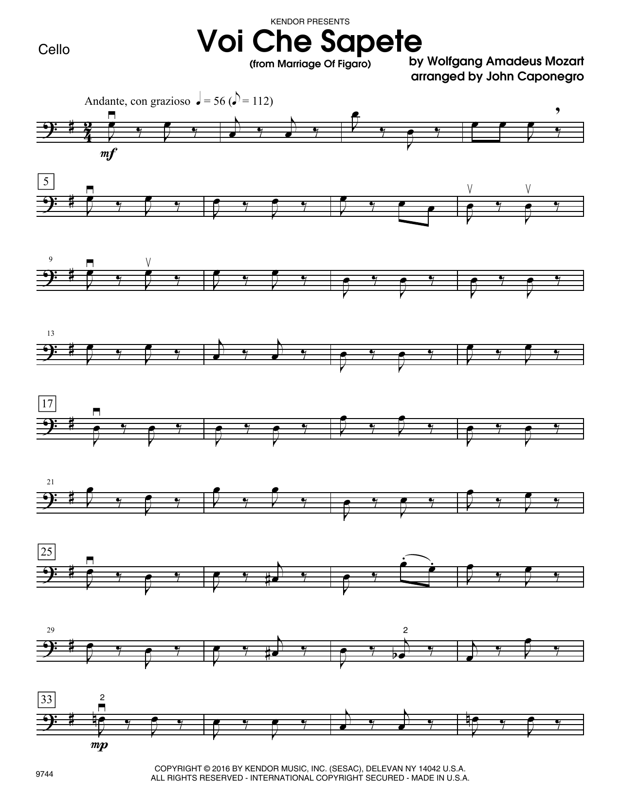 Voi Che Sapete (from Marriage Of Figaro) - Cello Sheet Music