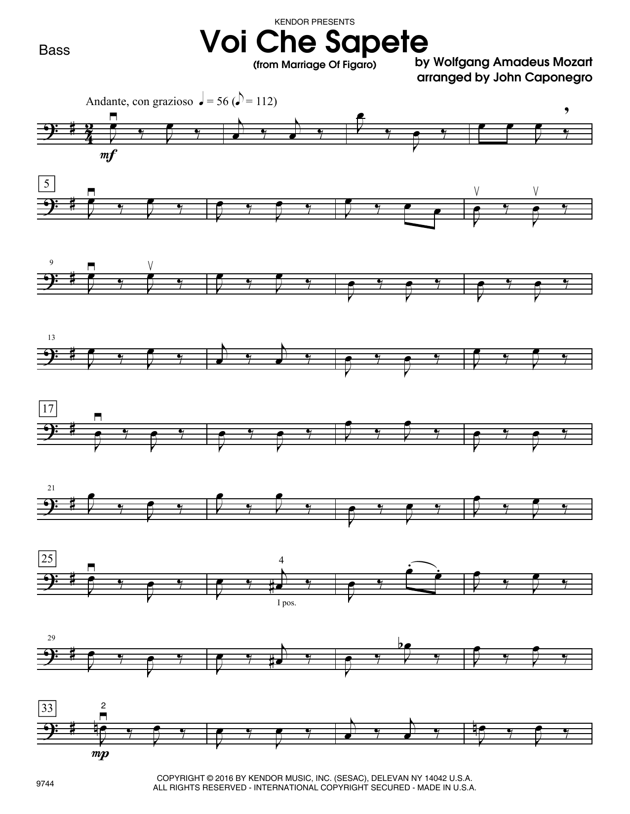 Voi Che Sapete (from Marriage Of Figaro) - Bass Sheet Music