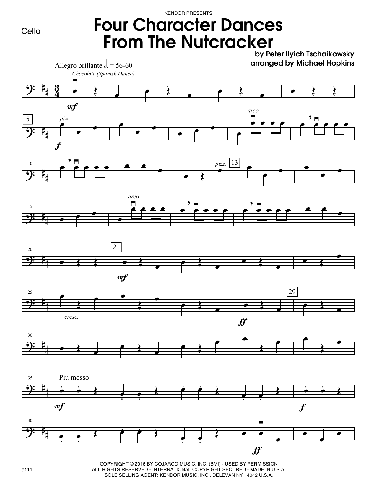 Four Character Dances From The Nutcracker - Cello Sheet Music
