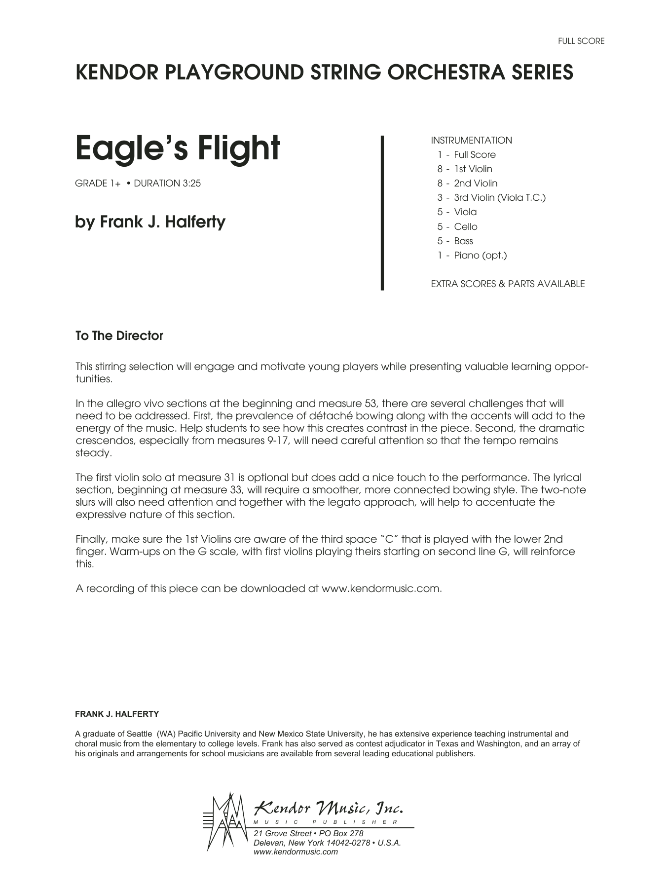 Eagle's Flight (COMPLETE) sheet music for orchestra by Frank J. Halferty. Score Image Preview.
