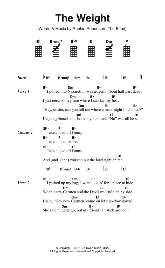 The Weight | The Band | Ukulele Lyrics & Chords