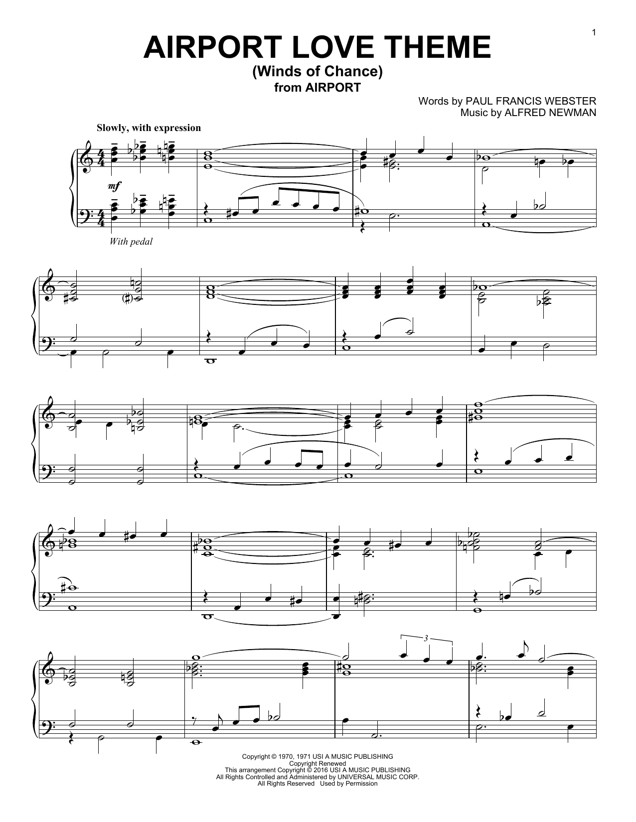 Airport Love Theme (Winds Of Chance) (Piano Solo)