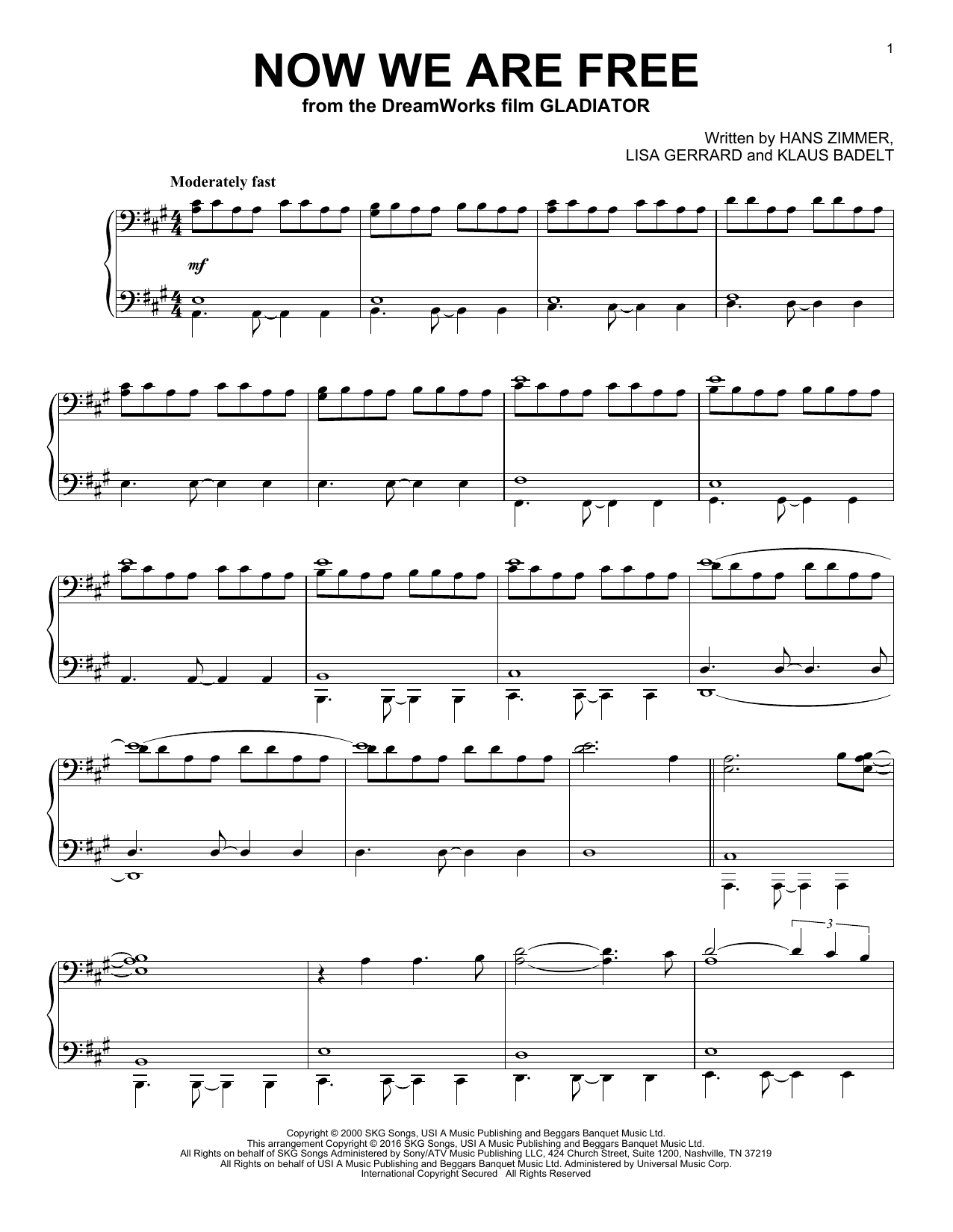 Now We Are Free (Piano Solo)