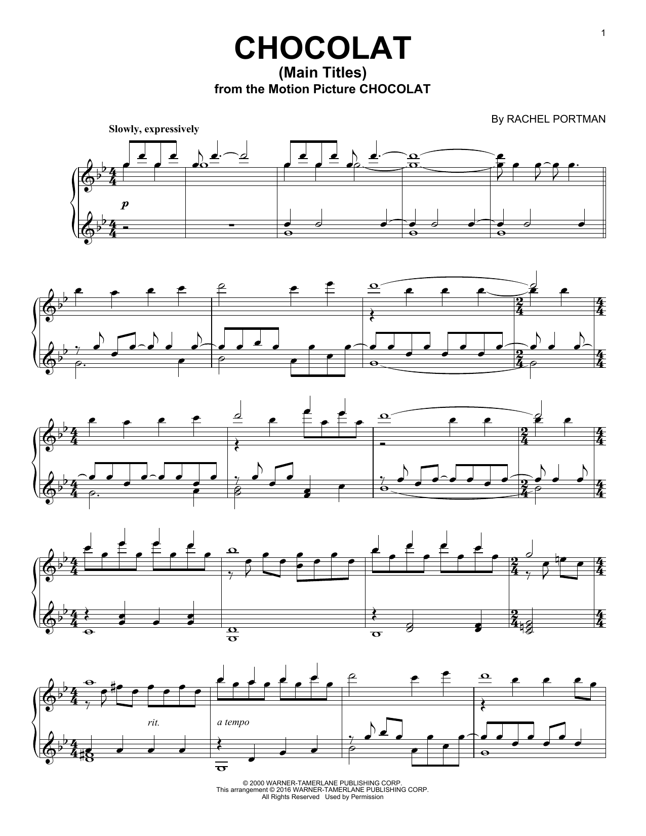 Chocolat (Main Titles) (Piano Solo)