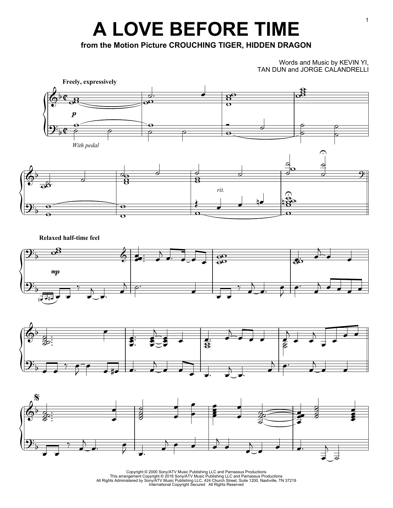 A Love Before Time (Piano Solo)