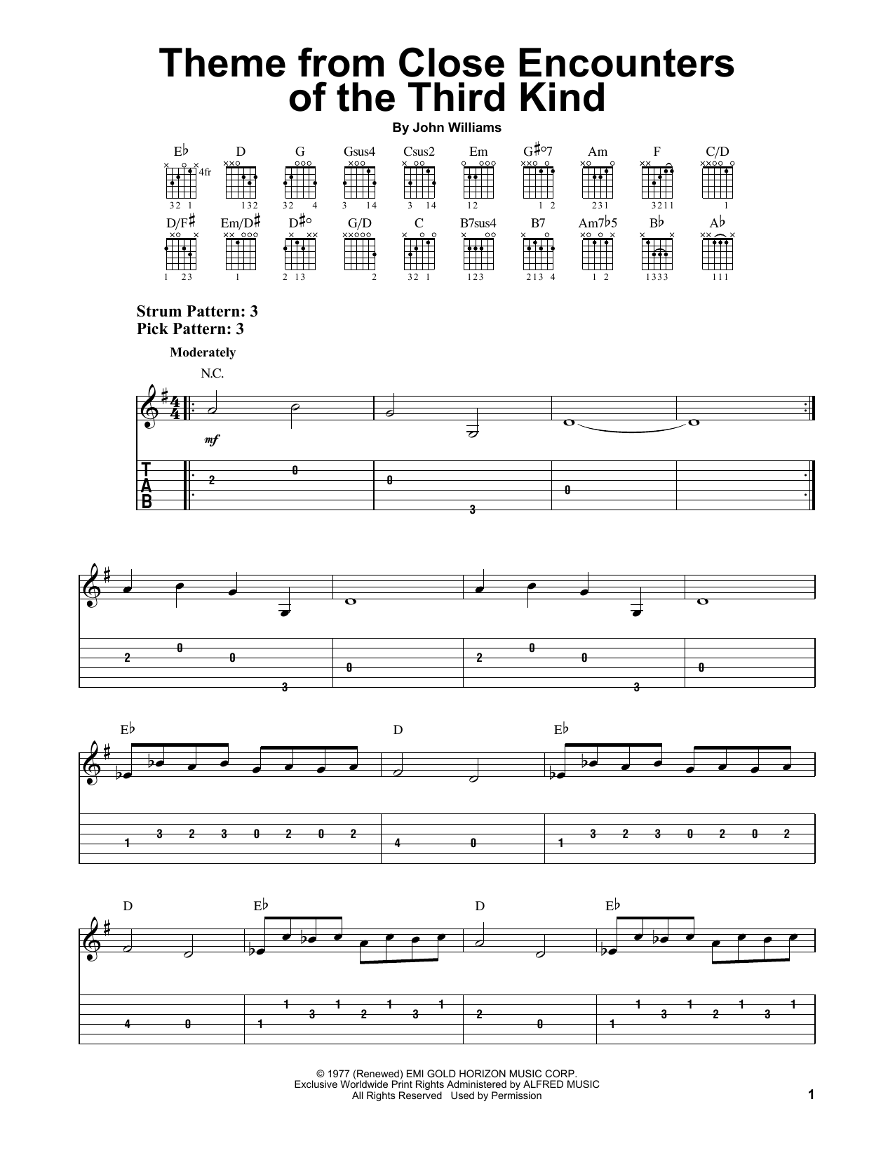 Tablature guitare Theme From Close Encounters Of The Third Kind de John Williams - Tablature guitare facile