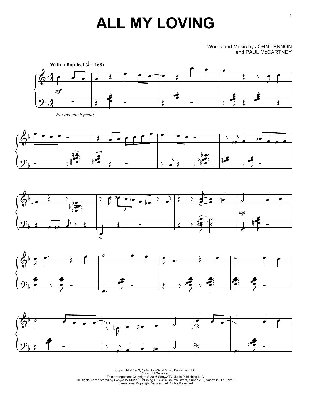 Partition piano All My Loving de The Beatles - Piano Solo