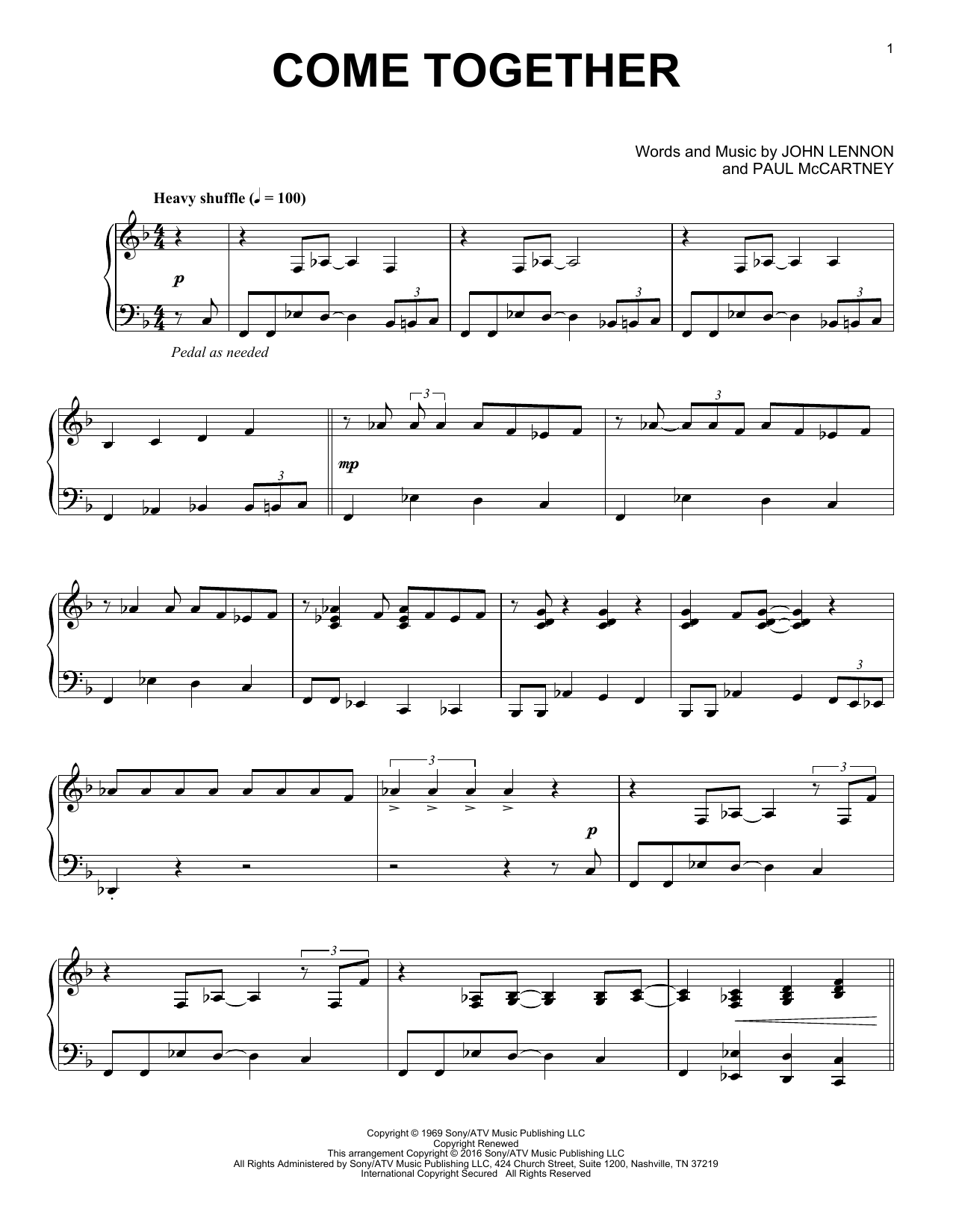 Partition piano Come Together de The Beatles - Piano Solo