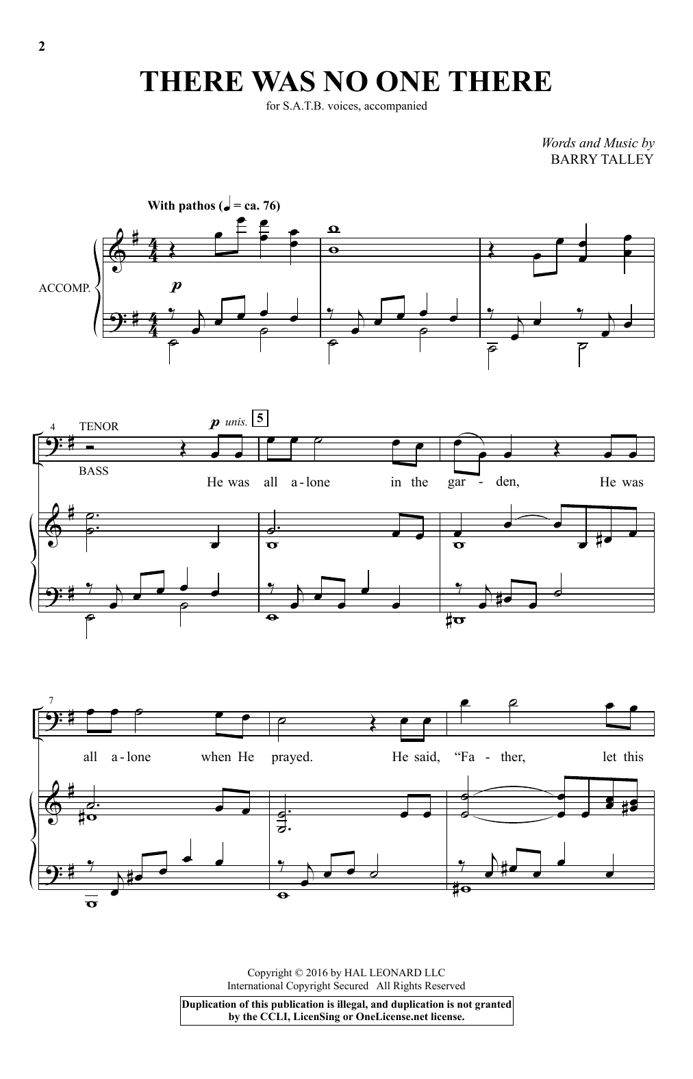 There Was No One There (SATB Choir)